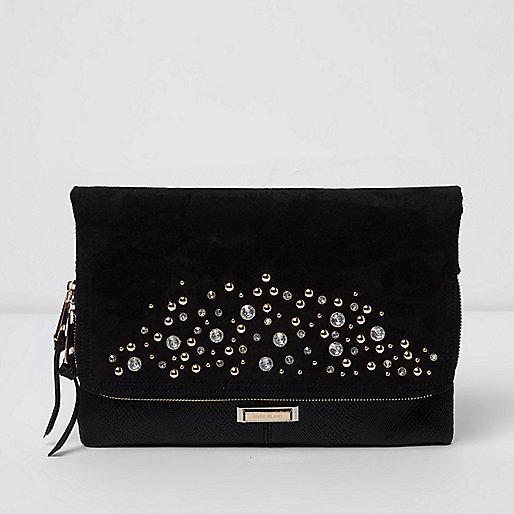 Black embellished foldover clutch bag