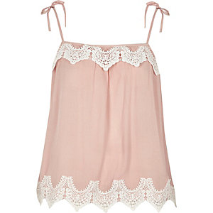 Pink cutwork lace tie shoulder cami top
