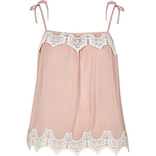 Pink cutwork lace tie shoulder cami top