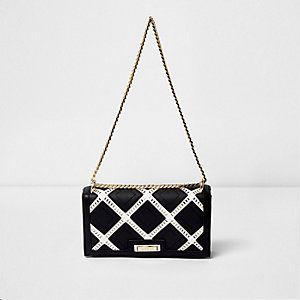 Black laser cut underarm chain bag