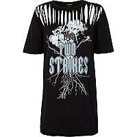Schwarzes, langes T-Shirt mit Print