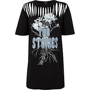 Black band print slash neckline jumbo T-shirt