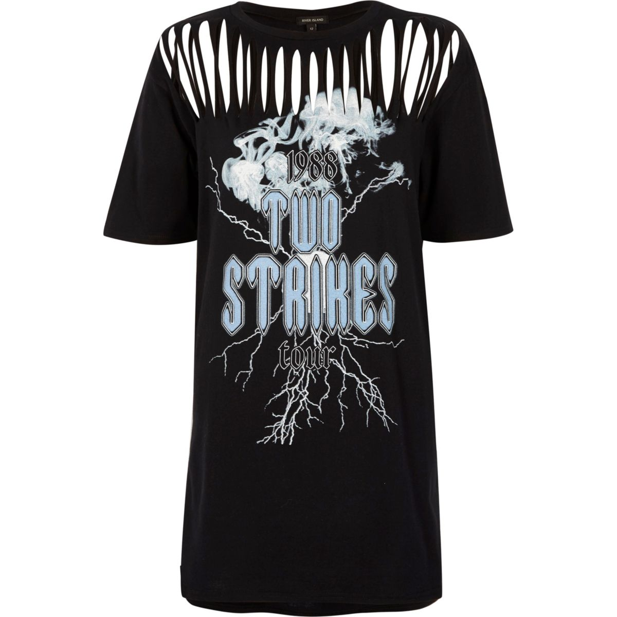 Black band print slash longline T-shirt