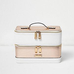 White color block vanity case bag