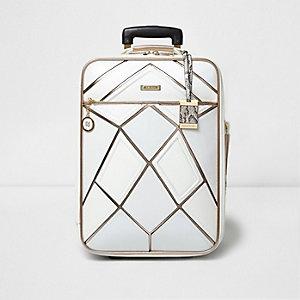 Valise de cabine blanche avec empiècement doré rose