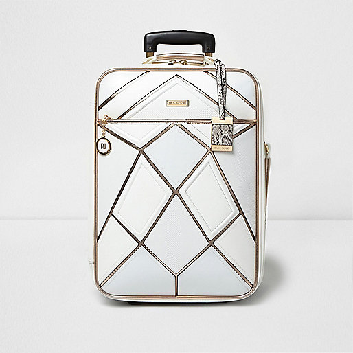White and rose gold panel cabin suitcase