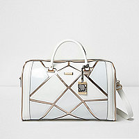 White and rose gold panel weekend bag