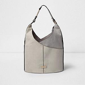 Grey wrap front underarm slouch bucket bag