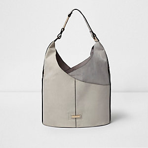 Grey wrap front underarm slouch bucket bag