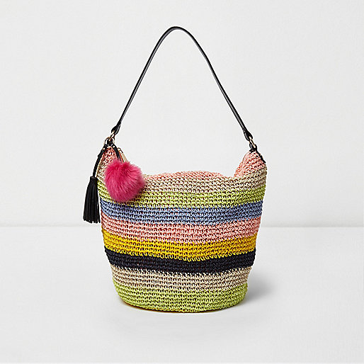 Yellow woven stripe underarm slouch beach bag