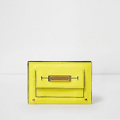 Yellow slim front pocket foldout purse