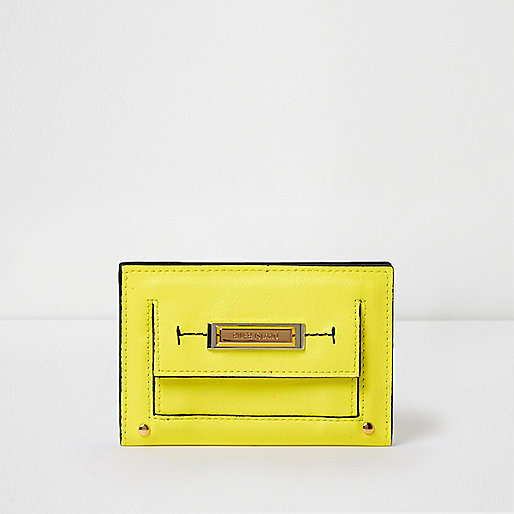 Yellow slim front pocket foldout purse