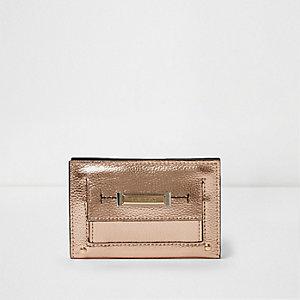 Gold metallic slim front pocket foldout purse
