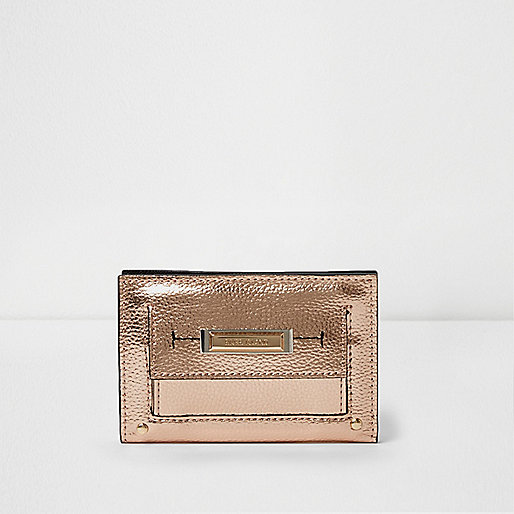 Gold metallic slim front pocket foldout purse