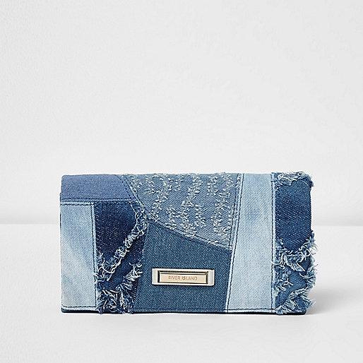 Blue patchwork denim foldout purse