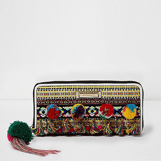 Black aztec embroidered slim zip around purse
