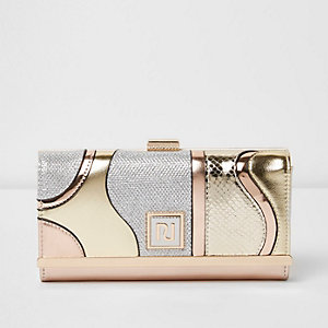 Gold metallic panel clip top foldover purse