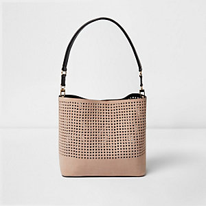 Nude laser cut bucket bag