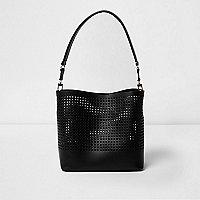 Black leather laser cut bucket bag