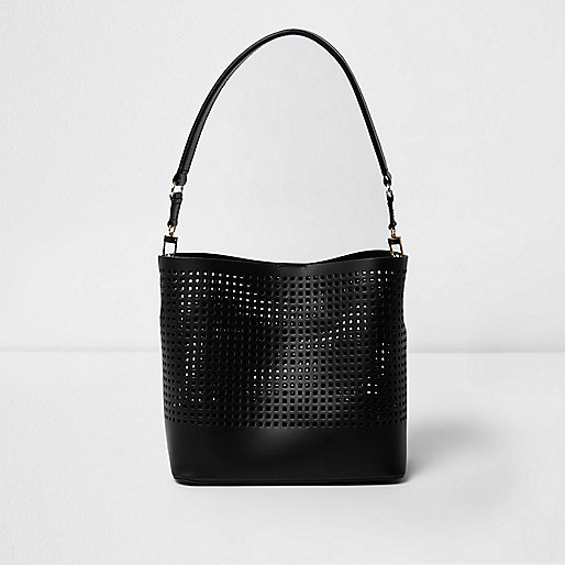 Black leather laser cut bucket bag