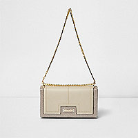 Beige snake panel foldover clutch chain bag