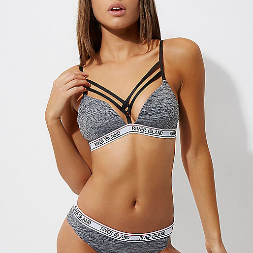 Grey strappy RI branded sporty bra
