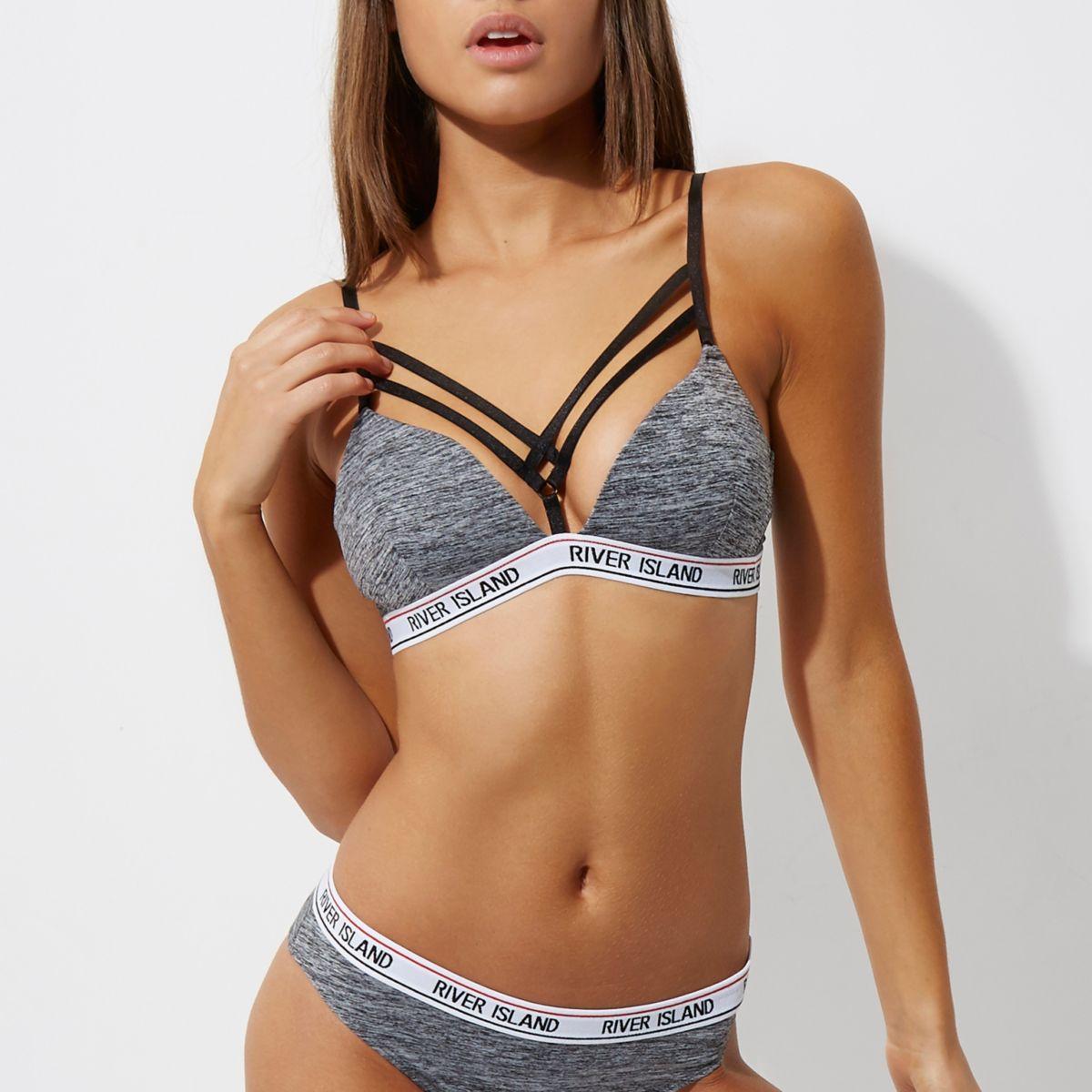 Grey strappy RI branded sporty bra