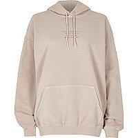 Beige everything back print hoodie