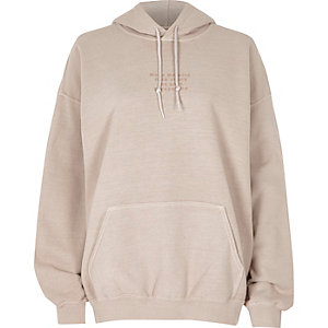 Beige everything back print hoodie