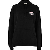 Black heart print large text hoodie