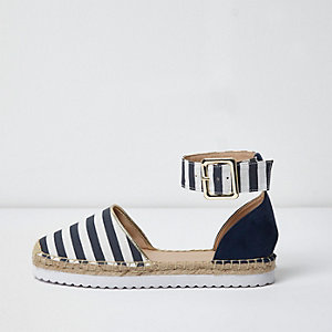 Blue stripe two part espadrilles