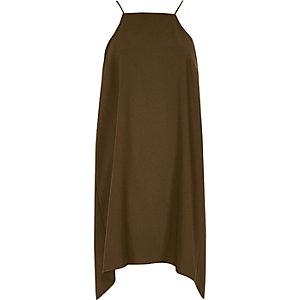 Khaki green ruched swing slip dress