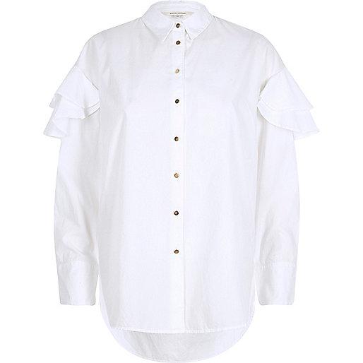 White long sleeve frill shoulder shirt