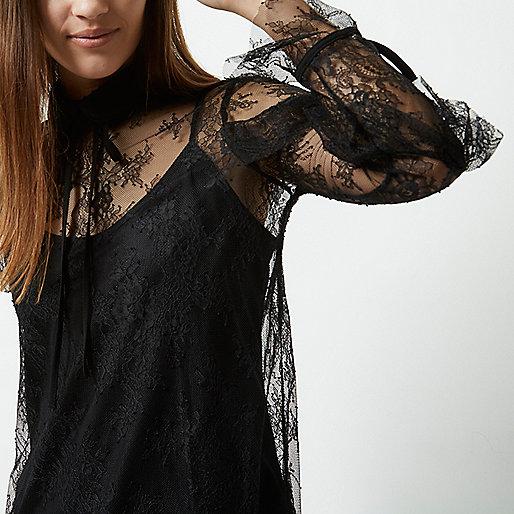 Petite black lace frill tie neck blouse