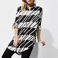 Petite Black abstract stripe shirt dress