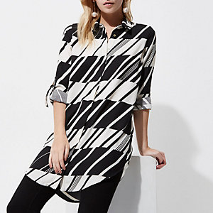 Petite Black abstract stripe shirt dress