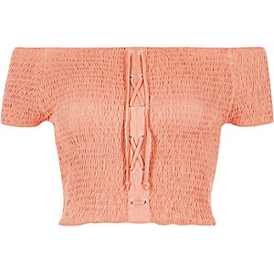 Coral lace-up shirred bardot crop top