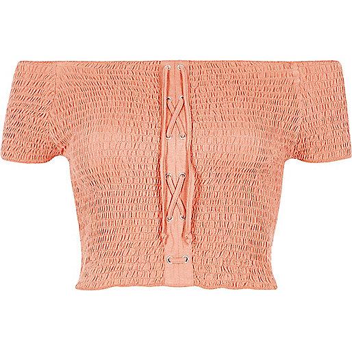 Coral lace-up shirred bardot crop top