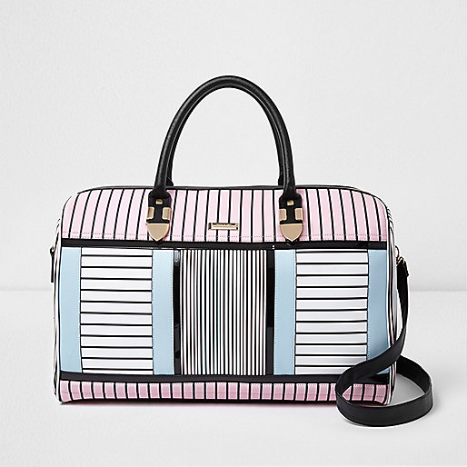 White stripe print weekend bag