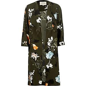 Mantel mit Blumenmuster in Khaki