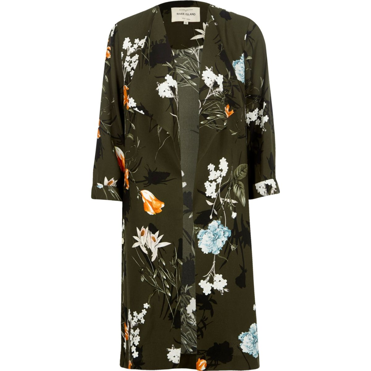 Khaki green floral print duster coat