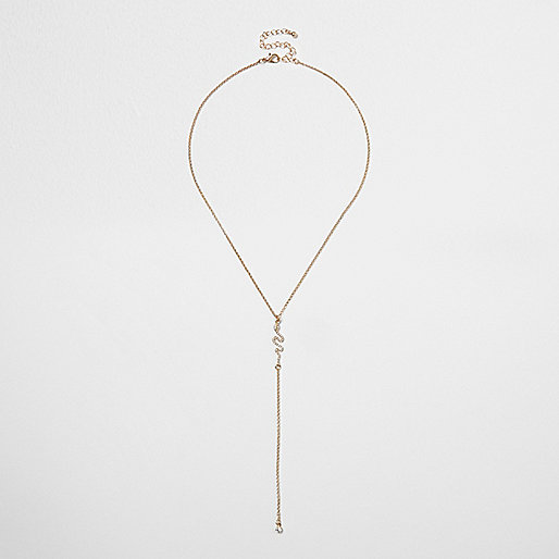 Gold tone rhinestone snake drop necklace