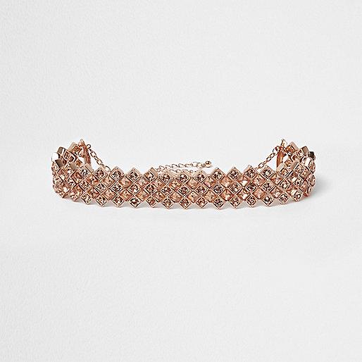 Rose gold diamante choker