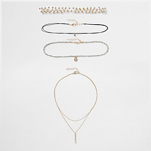 Gold tone '90s pendant multi row choker set