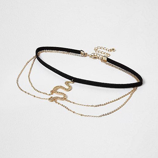 Black drape snake pendant choker