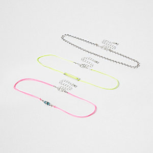 Pink fluro multi row choker pack