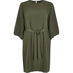 Khaki puff sleeve swing dress