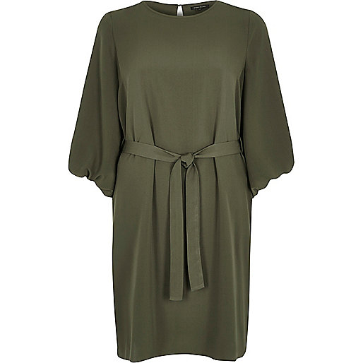 Khaki puff sleeve swing dress