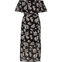 Schwarzes Bardot-Midikleid mit Blumenmuster
