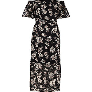 Black floral print bardot layer midi dress